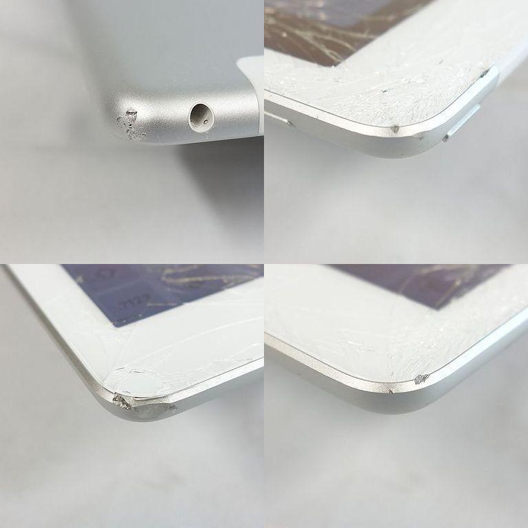 ジャンク au iPad 6 シルバー 32GB Wi-Fi+Cellular アクティベーションロック 画面割れ A1954【k0420-30】岡_角の部分に傷が多いです