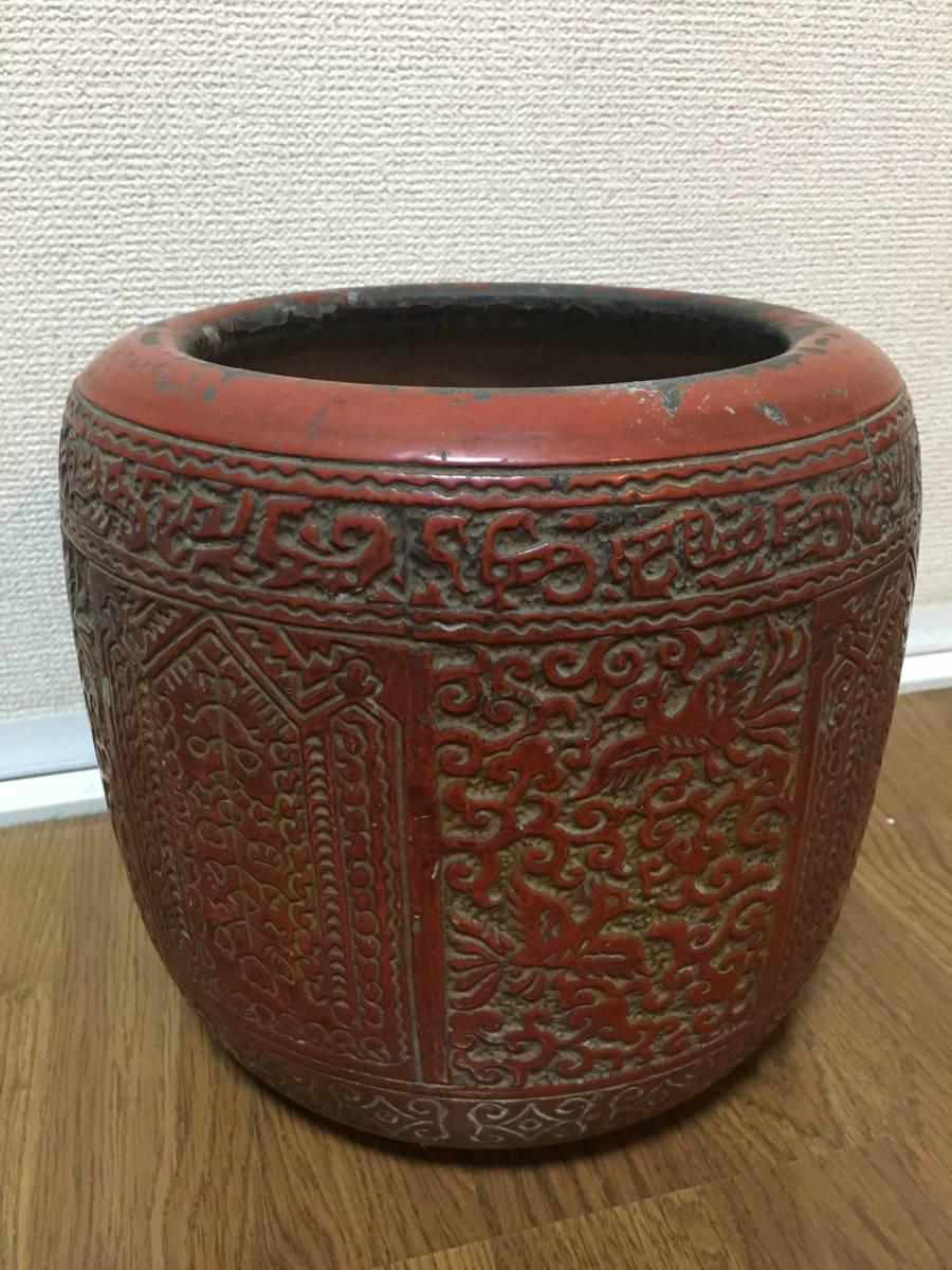 火鉢 堆朱 茶道具 古物 陶磁器_画像2