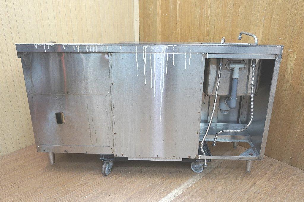 c149 フジマック キャビネット付1槽シンク 業務用コンパクトキッチン 省スペース業務用システムキッチン 蛇口付き流し コンロ台 ス_画像4