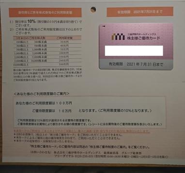 三越伊勢丹HD 株主優待カード(限度額100万円、男性名義)_画像1