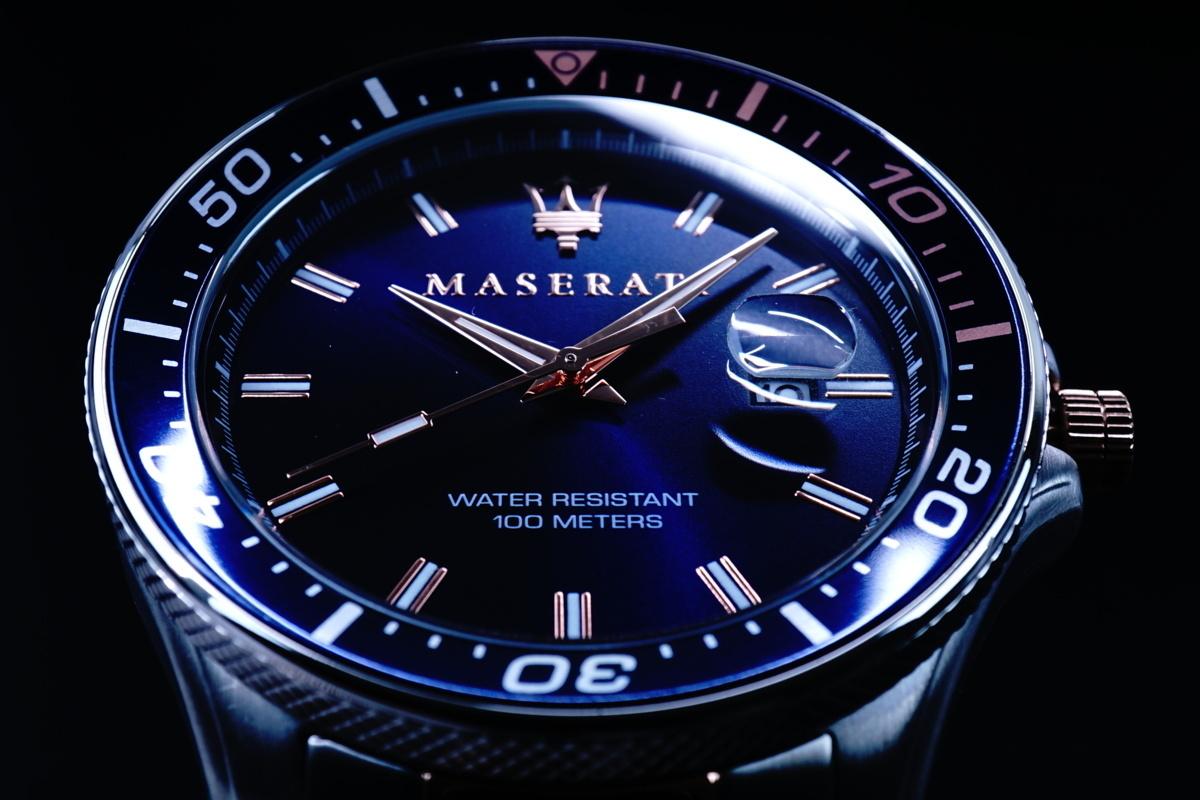 1円×2本/新品本物MASERARTIマセラティ公式美しすぎるブルー×ピンクゴールドDeepseaサブマリーナリミテッド100m防水腕時計逆輸入