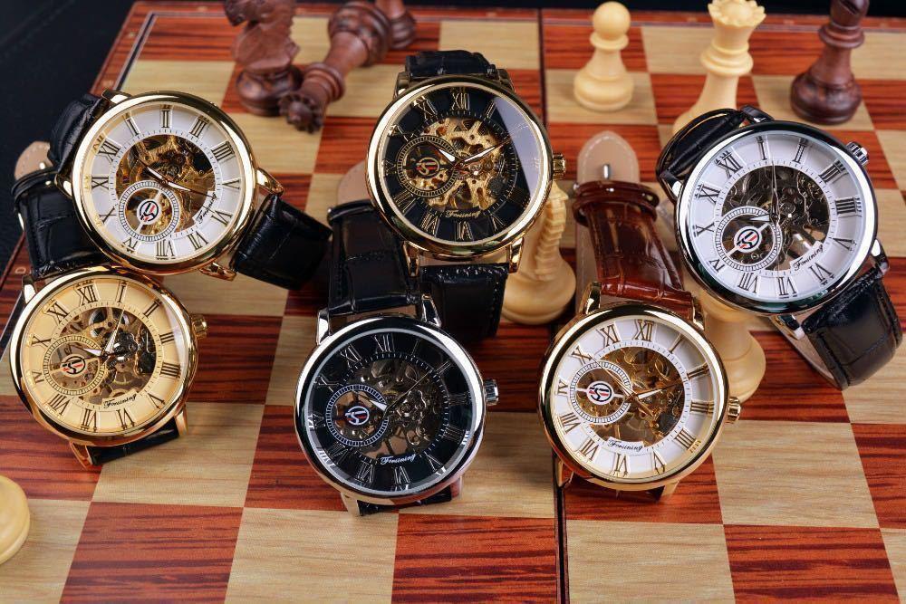 【1円スタート!】最落なし!メンズ高品質腕時計 海外大人気ブランドFORSINING スケルトンダイヤル3Dロゴデザイン ホワイト×ブラウン♪1_※実写の参考画像となります