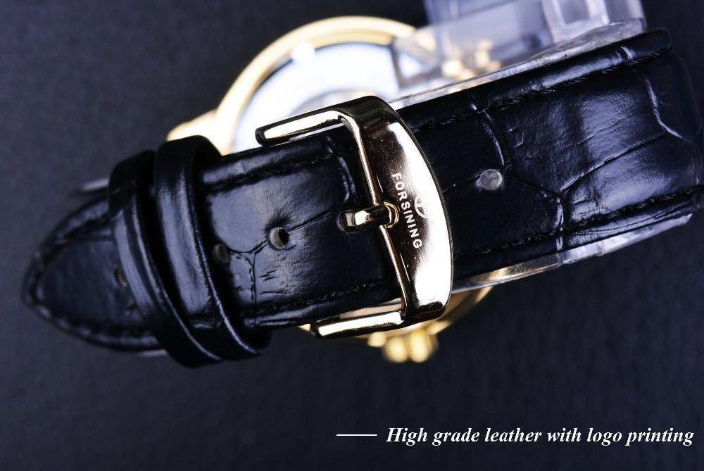 【1円スタート!】最落なし!メンズ高品質腕時計 海外大人気ブランドFORSINING スケルトンダイヤル3Dロゴデザイン ホワイト×ブラウン♪1_画像5