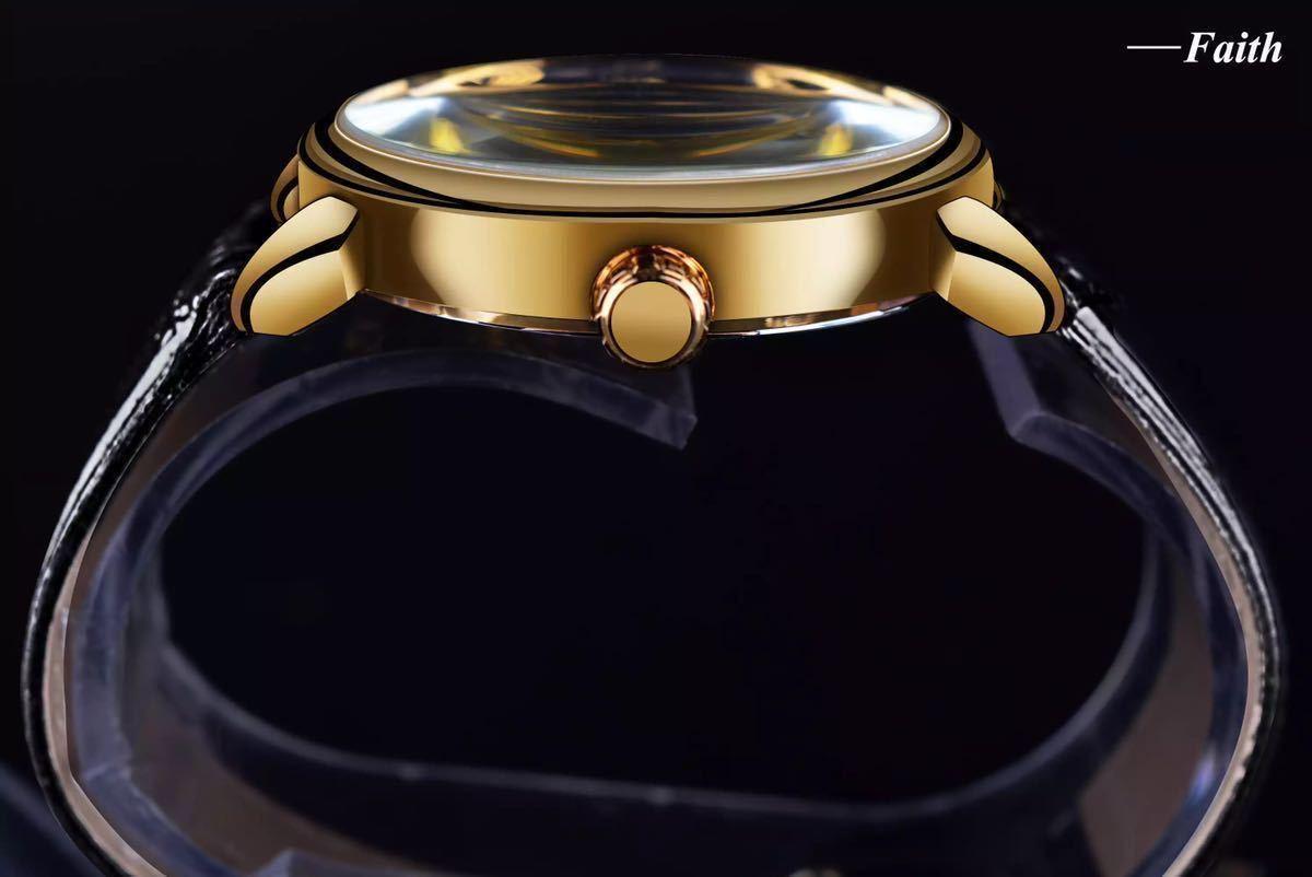 【1円スタート!】最落なし!メンズ高品質腕時計 海外大人気ブランドFORSINING スケルトンダイヤル3Dロゴデザイン ホワイト×ブラウン♪1_画像4