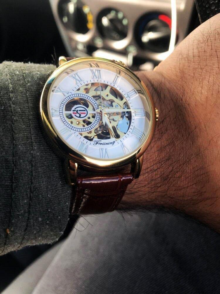 【1円スタート!】最落なし!メンズ高品質腕時計 海外大人気ブランドFORSINING スケルトンダイヤル3Dロゴデザイン ホワイト×ブラウン♪1_画像10