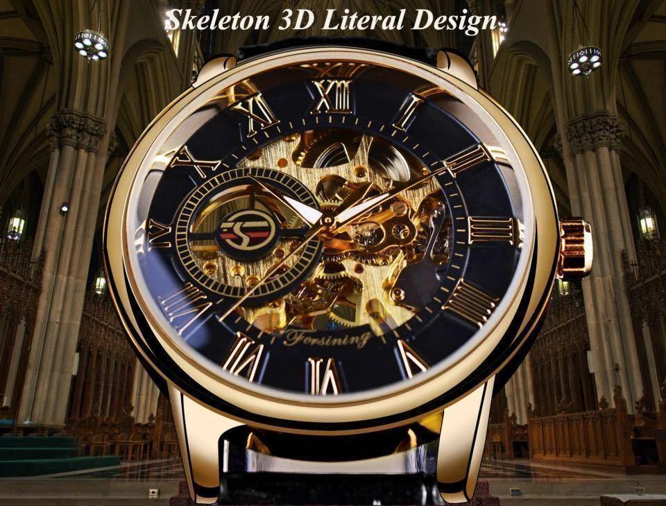 【1円スタート!】最落なし!メンズ高品質腕時計 海外大人気ブランドFORSINING スケルトンダイヤル3Dロゴデザイン ホワイト×ブラウン♪1_画像3