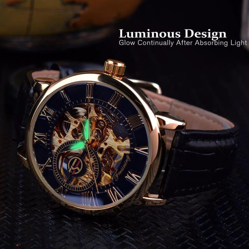 【1円スタート!】最落なし!メンズ高品質腕時計 海外大人気ブランドFORSINING スケルトンダイヤル3Dロゴデザイン ホワイト×ブラウン♪1_画像2