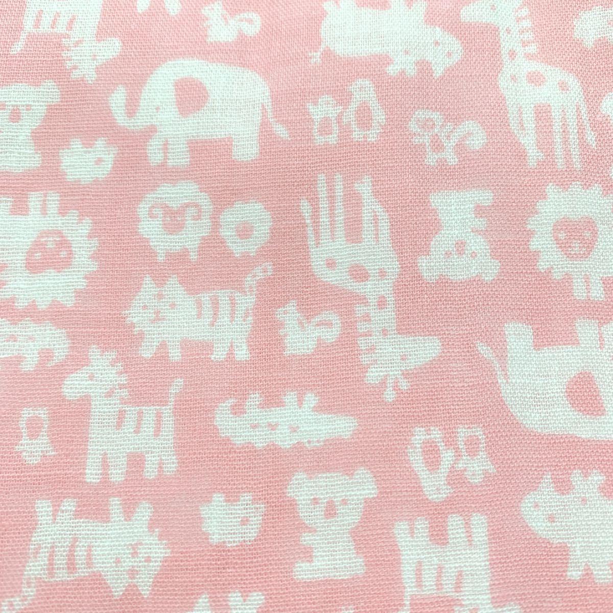 ダブルガーゼ ピンク 動物柄  生地