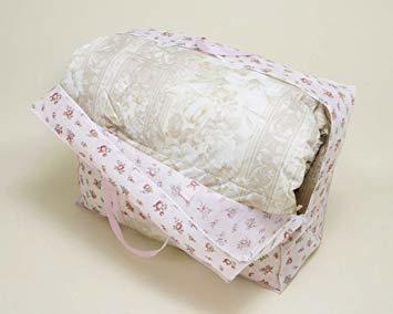 ピンクローズ柄 アストロ 羽毛布団 収納袋 シングル用 ガーデン柄 不織布 持ち手付き 縦型 135-03_画像2