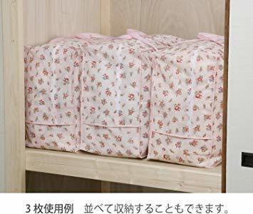 ピンクローズ柄 アストロ 羽毛布団 収納袋 シングル用 ガーデン柄 不織布 持ち手付き 縦型 135-03_画像6