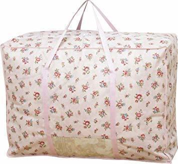 ピンクローズ柄 アストロ 羽毛布団 収納袋 シングル用 ガーデン柄 不織布 持ち手付き 縦型 135-03_画像1
