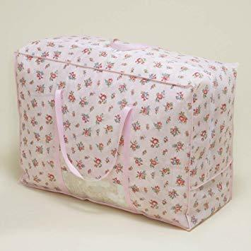 ピンクローズ柄 アストロ 羽毛布団 収納袋 シングル用 ガーデン柄 不織布 持ち手付き 縦型 135-03_画像4