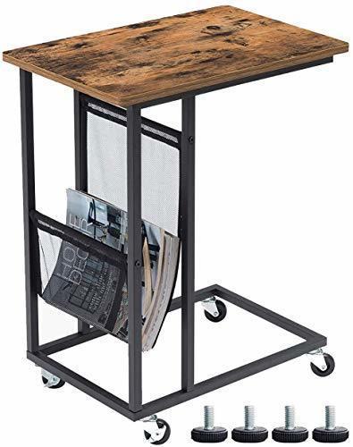 色ヴィンテージ EKNITEY サイドテーブル ソファ ナイトテーブル コ字型 キャスター付き 可移動デスク ノートパソコンスタン_画像1