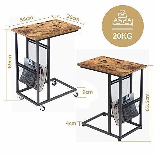 色ヴィンテージ EKNITEY サイドテーブル ソファ ナイトテーブル コ字型 キャスター付き 可移動デスク ノートパソコンスタン_画像6