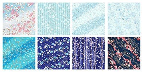 青色系 B4判 25.7×36.4cm 8柄入 【Amazon.co.jp 限定】和紙かわ澄 特撰 青色系 手染め 千代紙 友禅_画像2