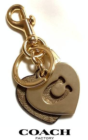 特価! 可愛い COACH コーチ シグネチャー&メタル ハート キーリング バッグチャーム キーホルダー 91478 新品本物