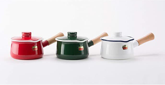 【新品未使用】グリーングリーンソリッド富士ホーローSD15MGミルクパン15cm片手鍋 `_画像6