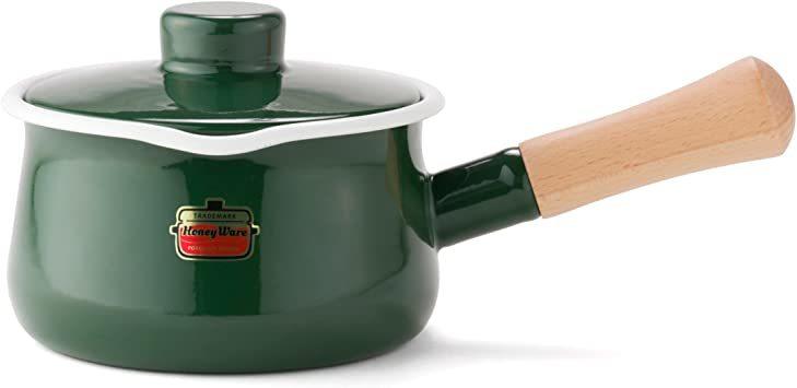 【新品未使用】グリーングリーンソリッド富士ホーローSD15MGミルクパン15cm片手鍋 `_画像1