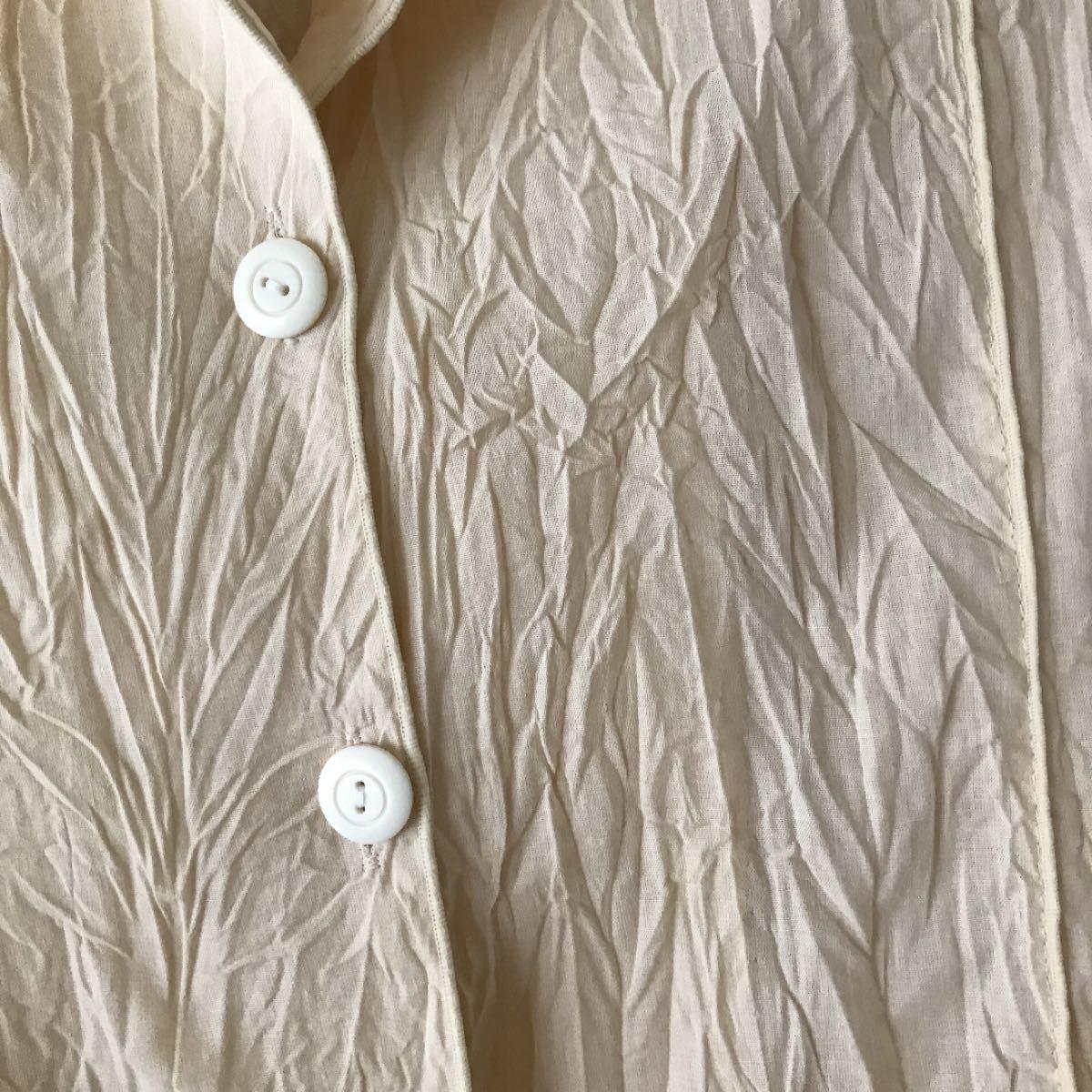 テーラードジャケット しわ加工 アイボリー レディースジャケット 女性上衣