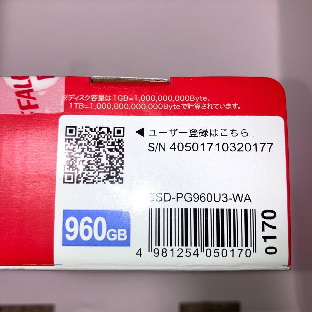 [新品]BUFFALO パソコン用ポータブルSSD 960GB SSD-PG960U3-WA PS4動作確認済