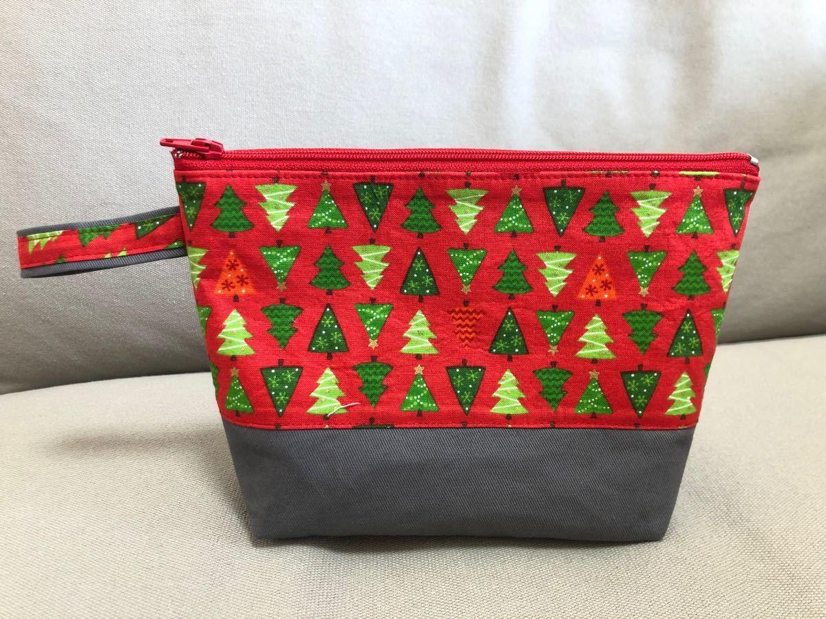 ハンドメイド マルチポーチ クリスマスツリー 化粧品 通帳
