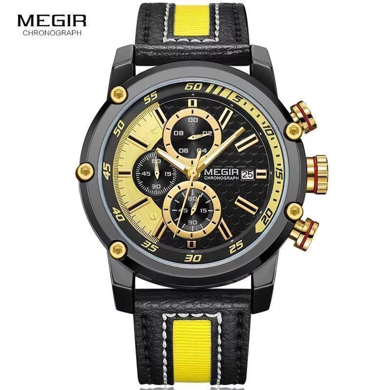MEGIR 高級海外人気トップブランド 男性 メンズ 防水 クロノグラフ クォーツ式 腕時計 色選択☆ML2079GBK 色: M2079-Yellow-Black_画像1