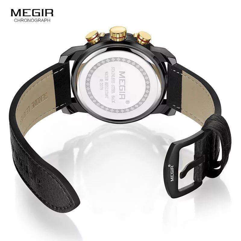 MEGIR 高級海外人気トップブランド 男性 メンズ 防水 クロノグラフ クォーツ式 腕時計 色選択☆ML2079GBK 色: M2079-Yellow-Black_画像2