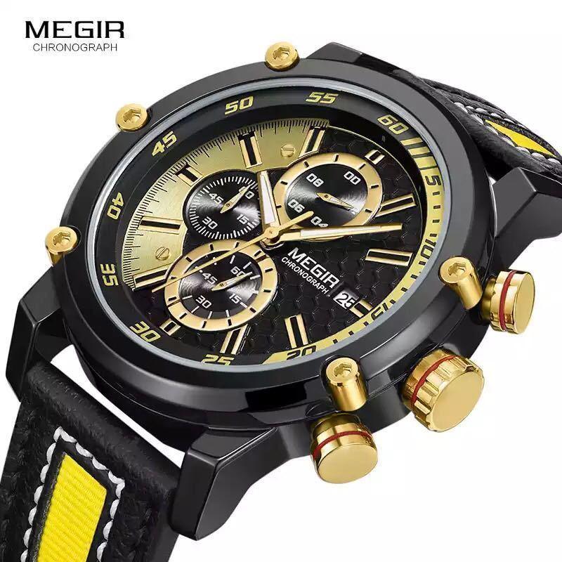 MEGIR 高級海外人気トップブランド 男性 メンズ 防水 クロノグラフ クォーツ式 腕時計 色選択☆ML2079GBK 色: M2079-Yellow-Black_画像4