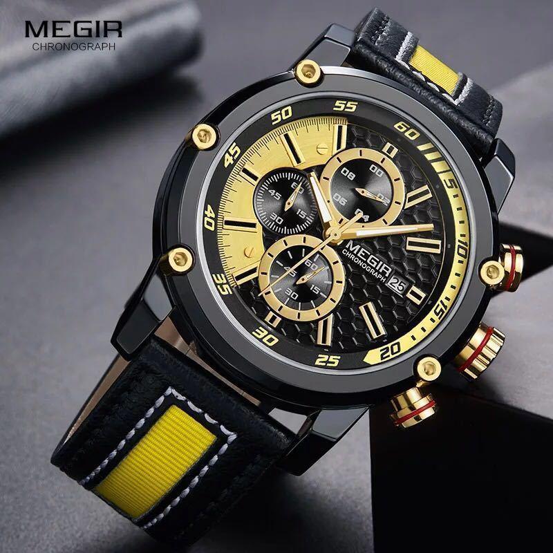 MEGIR 高級海外人気トップブランド 男性 メンズ 防水 クロノグラフ クォーツ式 腕時計 色選択☆ML2079GBK 色: M2079-Yellow-Black_画像3