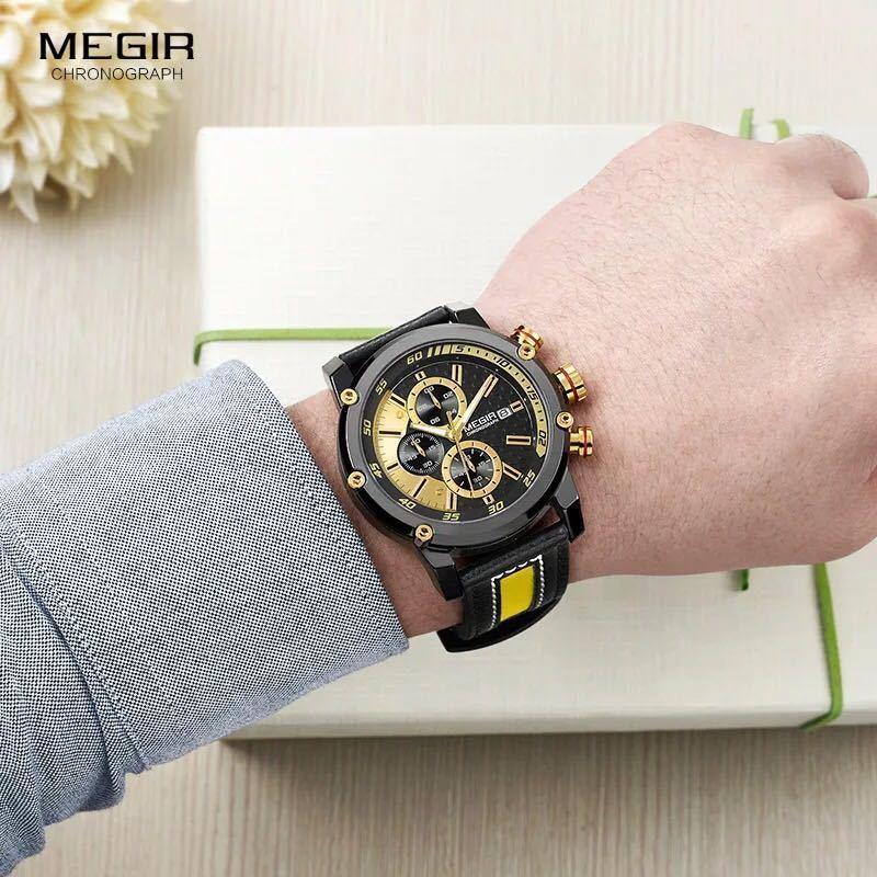 MEGIR 高級海外人気トップブランド 男性 メンズ 防水 クロノグラフ クォーツ式 腕時計 色選択☆ML2079GBK 色: M2079-Yellow-Black_画像6