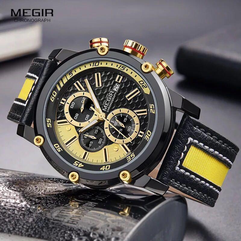 MEGIR 高級海外人気トップブランド 男性 メンズ 防水 クロノグラフ クォーツ式 腕時計 色選択☆ML2079GBK 色: M2079-Yellow-Black_画像5