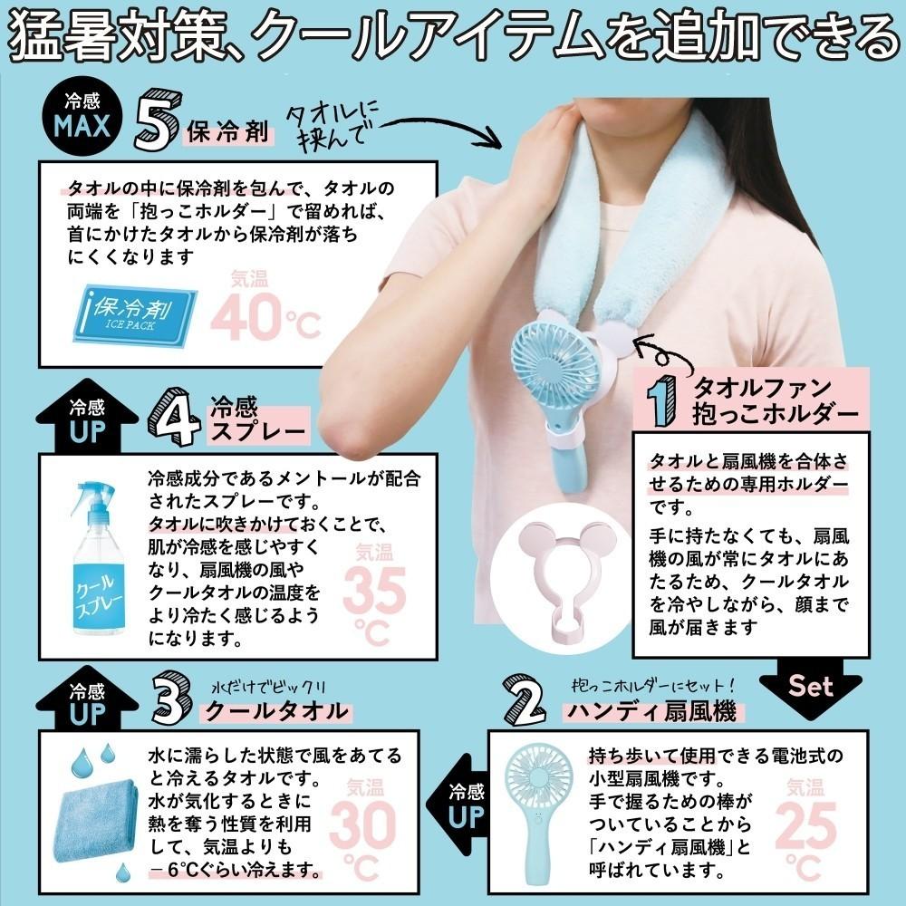【ブルー】熱中症対策グッズ 携帯扇風機用 抱っこホルダー(クールタオル付)