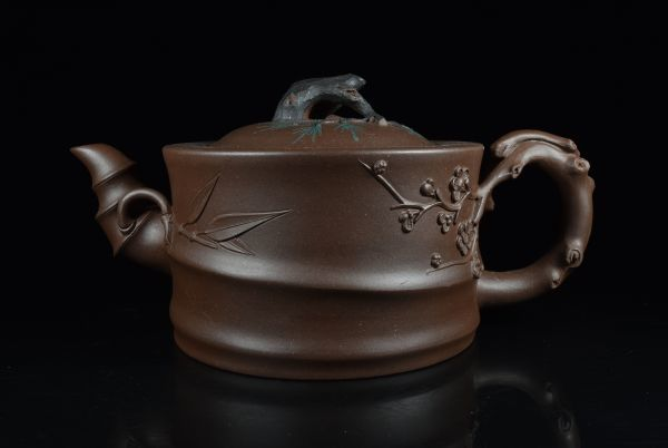 唐物 在銘 朱泥急須【煎茶 茶壺 建水 茶托】