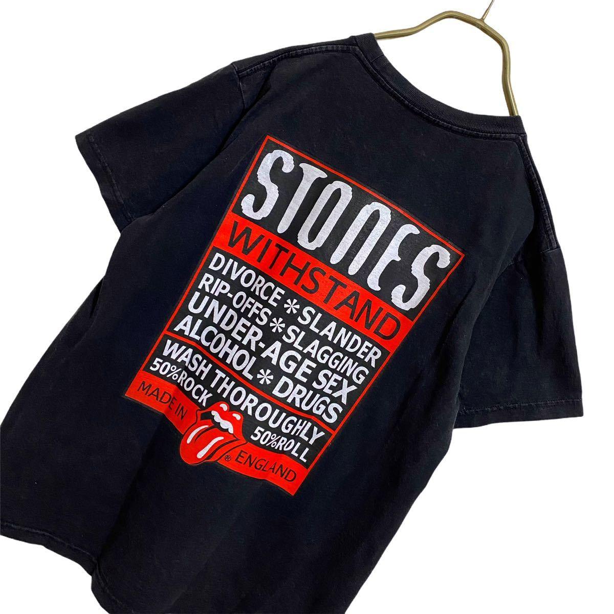 【廃盤】ローリングストーンズ リップアンドタン ロゴ Tシャツ メンズ S 古着 ヴードゥーラウンジツアー バンドTシャツ ロックTシャツ 黒