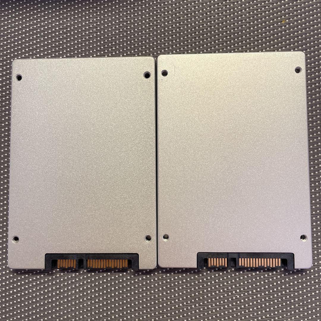 Micron SSD 2.5インチSATA 256GB 二枚セット/使用時間6191,7832