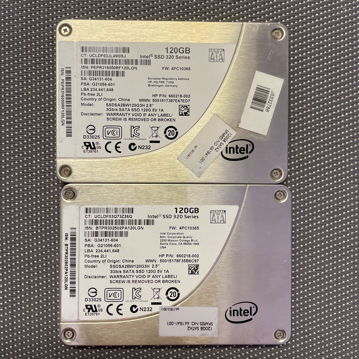Intel SSD Series 320 2.5インチSATA 120GB二枚セット/使用時間713,741