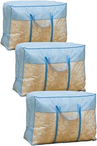 ブルー 3枚組 70×30×50㎝ アストロ 羽毛布団 収納袋 3枚 シングル・ダブル兼用 ブルー 不織布 持ち手付き 縦型_画像1