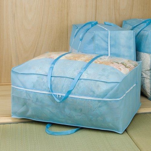 ブルー 3枚組 70×30×50㎝ アストロ 羽毛布団 収納袋 3枚 シングル・ダブル兼用 ブルー 不織布 持ち手付き 縦型_画像4