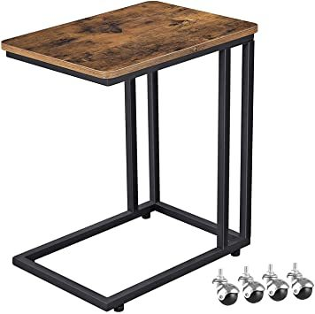 ◇■■ヴィンテージ サイドテーブル VASAGLE サイドテーブル ソファ ナイトテーブル 広い天板 キャスター付き 幅50x奥_画像1