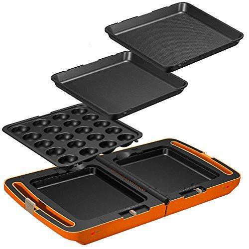 2)オレンジ 大 アイリスオーヤマ ホットプレート たこ焼き 平面 ディンプル プレート 3枚 両面 角型 左右独立温度設定 オ_画像1