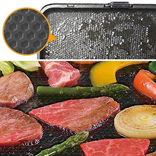 2)オレンジ 大 アイリスオーヤマ ホットプレート たこ焼き 平面 ディンプル プレート 3枚 両面 角型 左右独立温度設定 オ_画像7