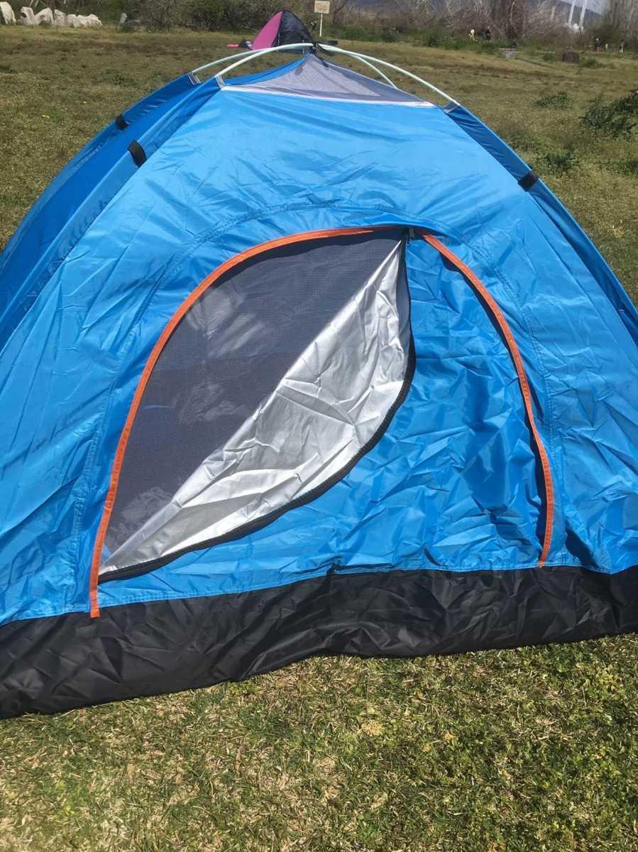 簡単設営♪蚊帳付き♪ワンタッチテント☆2-3人用☆ブルー【075】Q0925