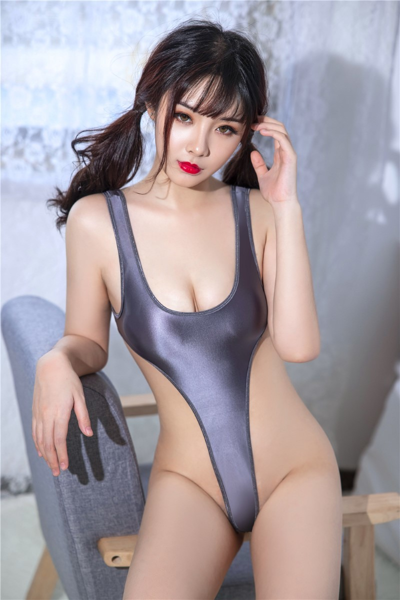 セクシー スベスベ 美胸 水着 ハイレグレオタード 体操服 伸縮性に優れ コスプレ衣装 RT369/グレー_画像3