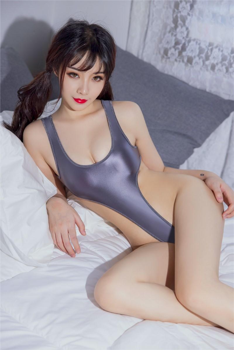 セクシー スベスベ 美胸 水着 ハイレグレオタード 体操服 伸縮性に優れ コスプレ衣装 RT369/グレー_画像5