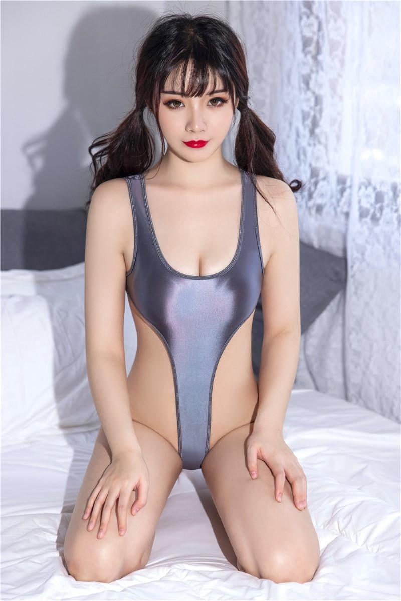 セクシー スベスベ 美胸 水着 ハイレグレオタード 体操服 伸縮性に優れ コスプレ衣装 RT369/グレー_画像4