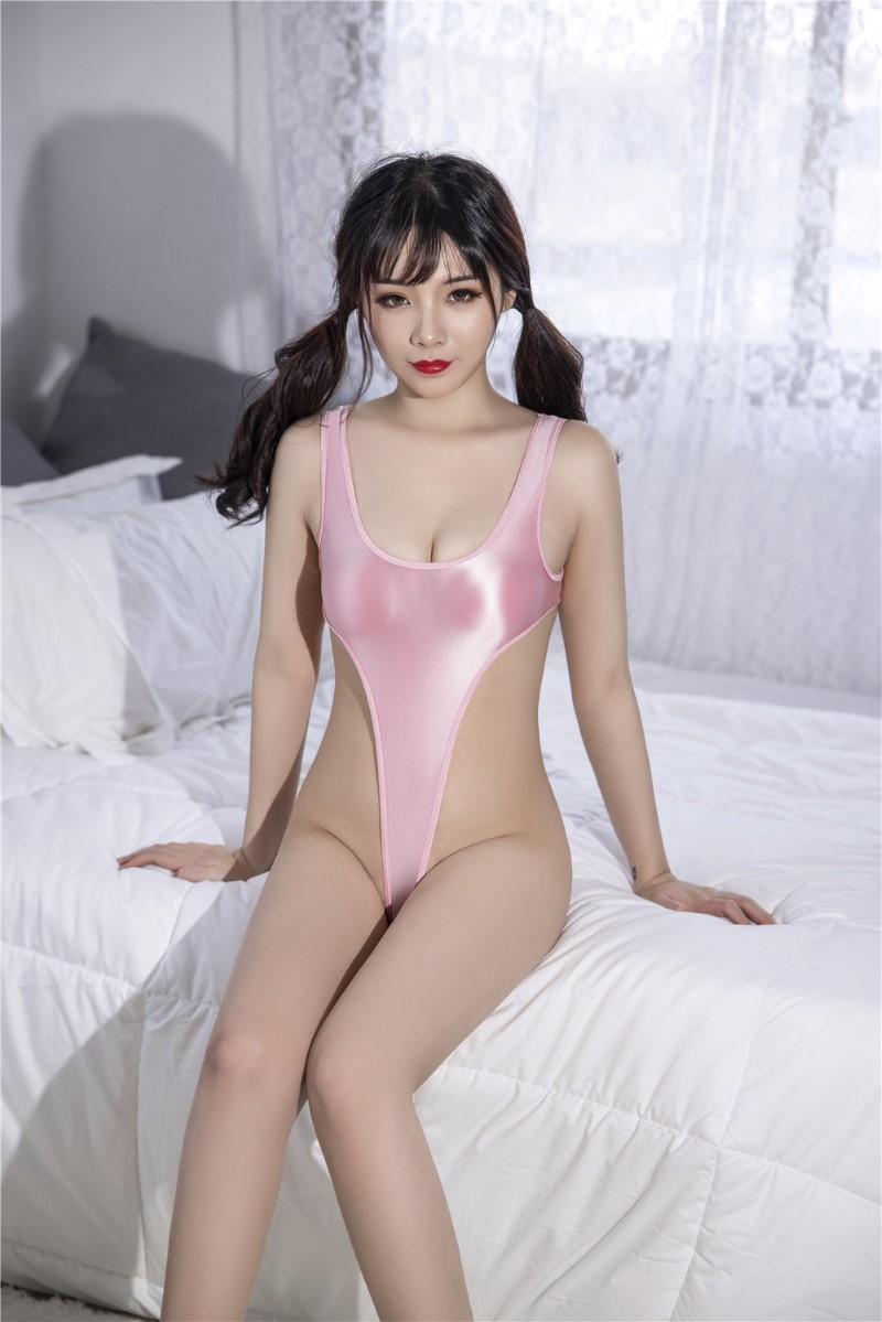 セクシー スベスベ 美胸 水着 ハイレグレオタード 体操服 伸縮性に優れ コスプレ衣装 RT369/ピンク_画像5