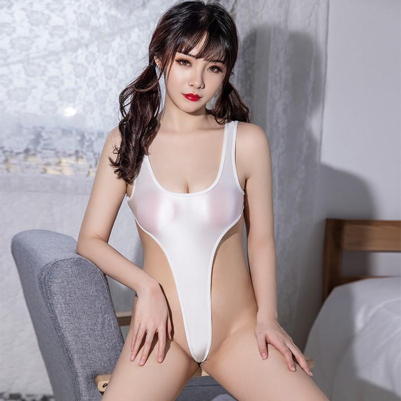 セクシー スベスベ 美胸 水着 ハイレグレオタード 体操服 伸縮性に優れ コスプレ衣装 RT369/ホワイト_画像5