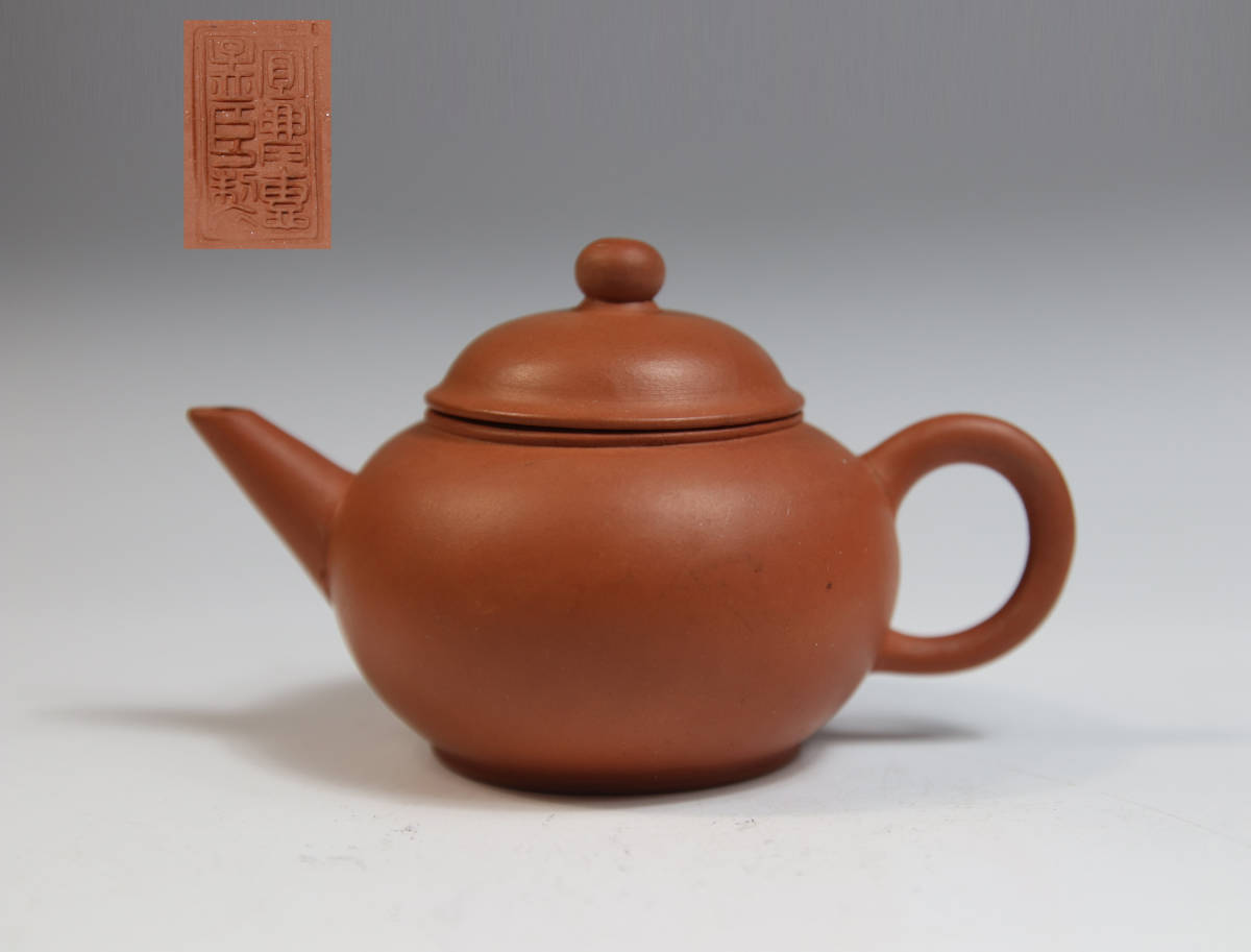 0164 時代物 朱泥急須 水平 宜興恵孟臣 中国宜興 紫砂 茶道具