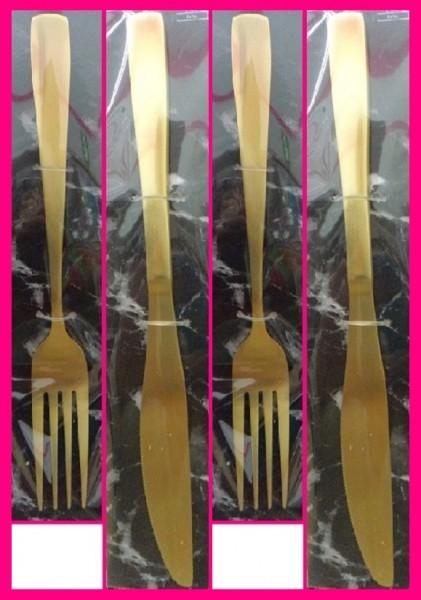 【送料無料:フォーク&ナイフ:4本】★ゴールド フォーク:2個:19cm・ナイフ:21cm:2個:ファミリーにおすすめ:カトラリーセット