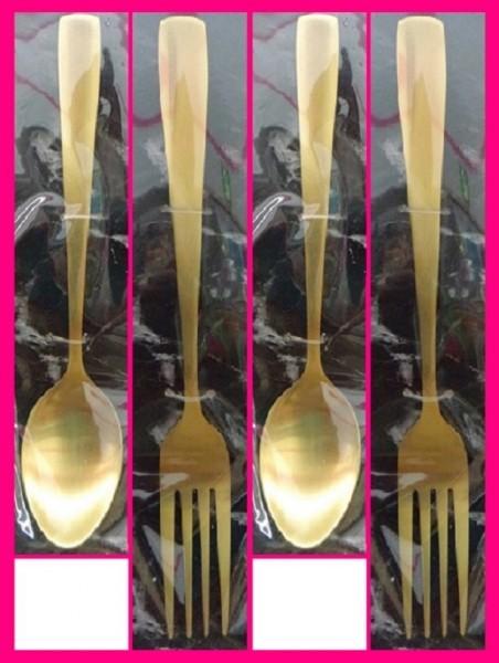 【送料無料:スプーン&フォーク:4本】★ゴールド スプーン:16cm:2個・フォーク:19cm:2個:ファミリーにおすすめ:カトラリーセット